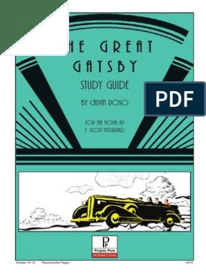 Great Gatsby Study Guide | F  Scott Fitzgerald | The Great