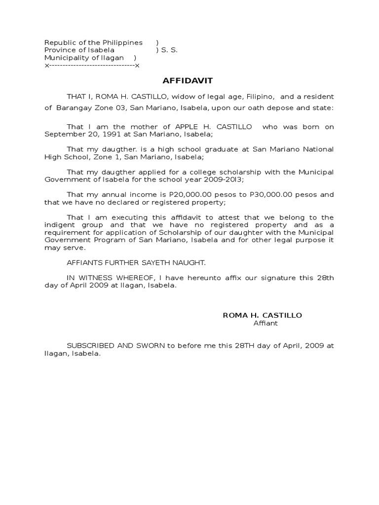Sample affidavit for scholarship altavistaventures Choice Image