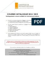 Course Catalogue 2014-15 for International Students
