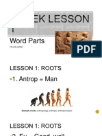 greek lesson 1 word parts