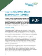 The Mini Mental State Examination MMSE Factsheet