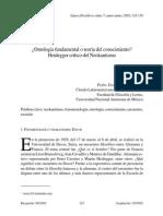 García Ruiz, Pedro Enrique - Ontología Fundamental o Teoría Del Conocimiento. Heidegger Crítico Del Neokantismo