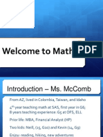 2014 Welcome to Math 6. TMcComb