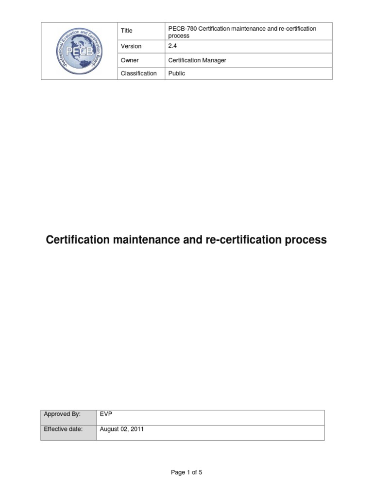 Pecb 780 Certification Maintenance And Re Certification Process 24