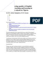 Factors Affecting Quality of English Language Teaching and Learning in Secondary Schools in Nigeria