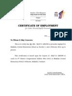 Cerificate of Employment