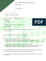 Hoja de actividades de ecuaciones y sistemas (2º ESO)