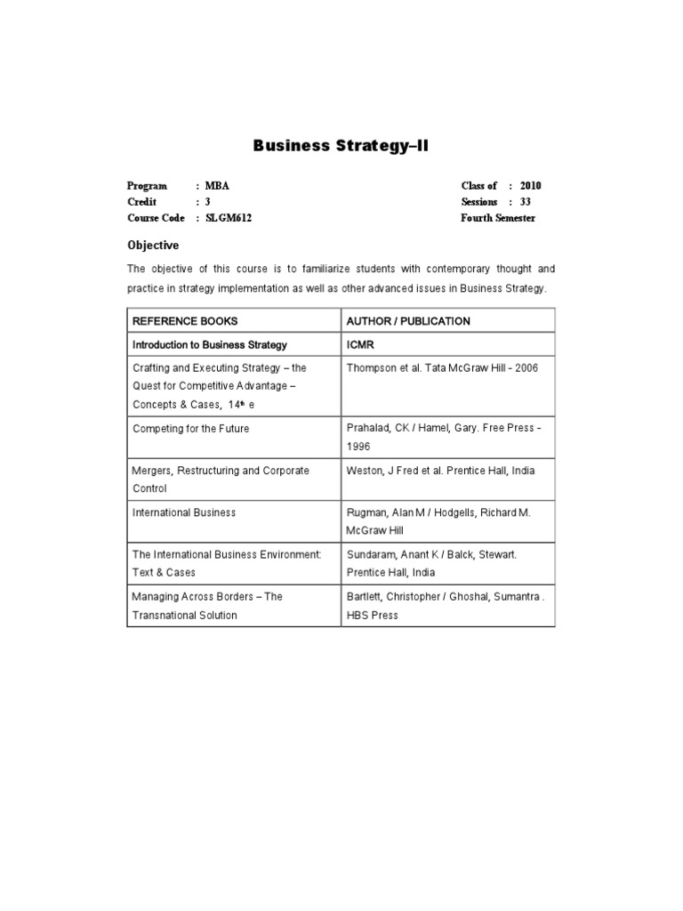 Business strategy ii strategic management game theory for Crafting and executing strategy cases