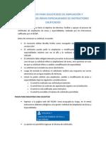 Instructivo Solicitud de Ampliacion de Areas Especialidades Instructores Calificados