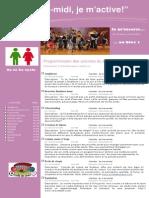 Dépliant Publicitaire Activités Mercredis PM Bloc 1 2e Et 3e Cycle 2014 2015