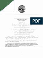 Detroit EM - Order No 21 - Order Approving Pension Freeze for City Employees