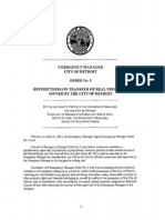Detroit EM Order No 05 - Restrictions on Transfer of Real Property Owned by the City of Detroit