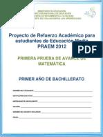 Primera Prueba de Avance - Matematica - Praem 2012