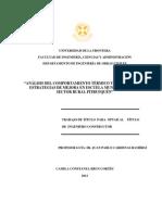 Análisis Del Comportamiento Térmico y Evaluación de Estrategias de Mejora en Escuela Municipal Loica Sector Rural Pitrufquen