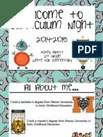 2014-2015 curriculum night