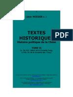 Wieger - Wieger - Textes Historiques - Histoire Politique de La Chine - Tomo III