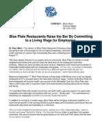 Blue Plate Restaurant News Release