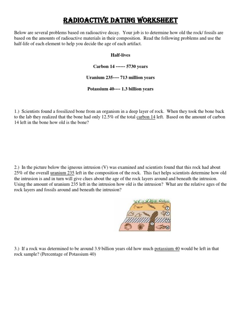 Radioactive dating of rocks worksheet