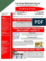 FUMC Newsletter for Aug. 6, 2014
