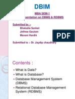 Presentation on DBMS