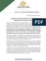 Boletin de Prensa 012 -2014 - Audiencia de c. Climático