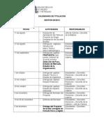Calendario de Seminario de Titulación II -02-2014-1