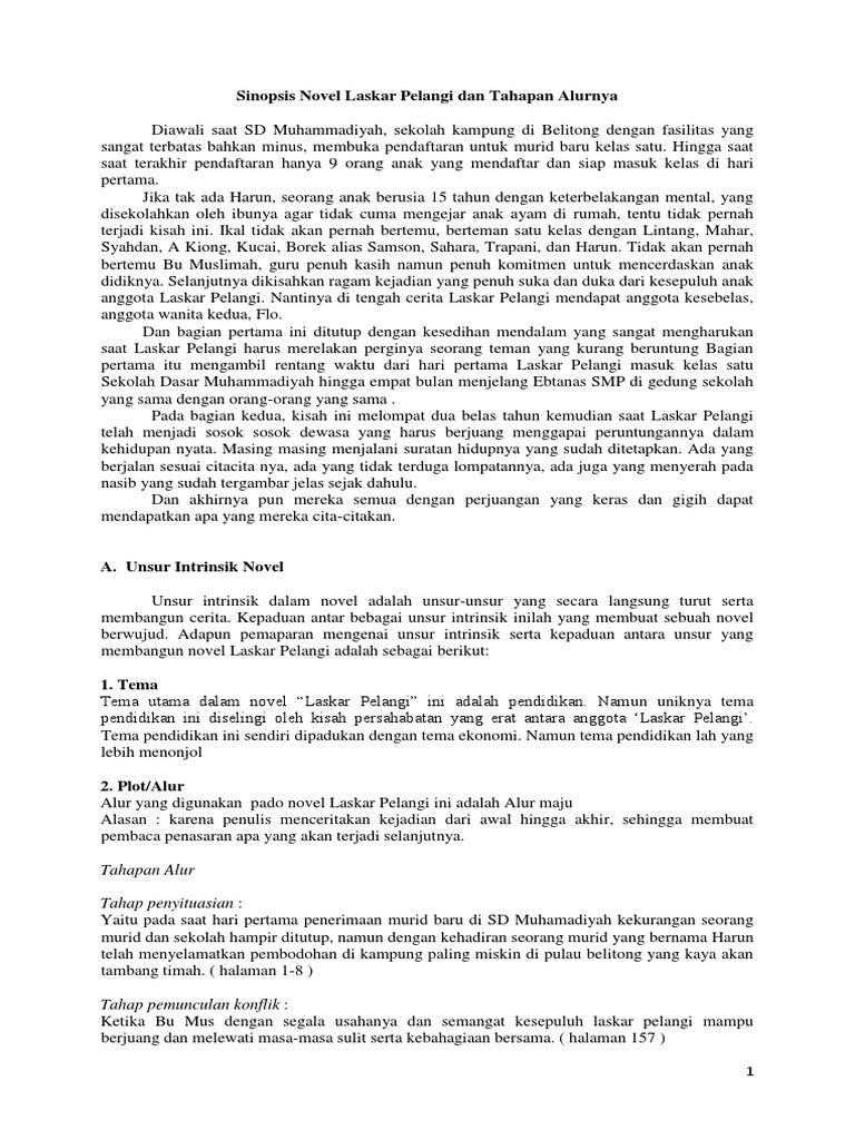 Sinopsis Novel Laskar Pelangi Dan Tahapan Alurnya