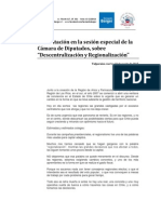 Sesion Especial Regionalización