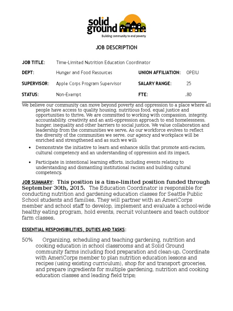 Job Opening At Solid Ground Time Limited Nutrition Education