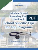 Medical School Secondary Handbook Tips