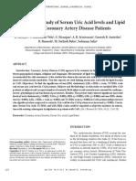 Comparative Study of Serum Uric Acid Levels and Lipid