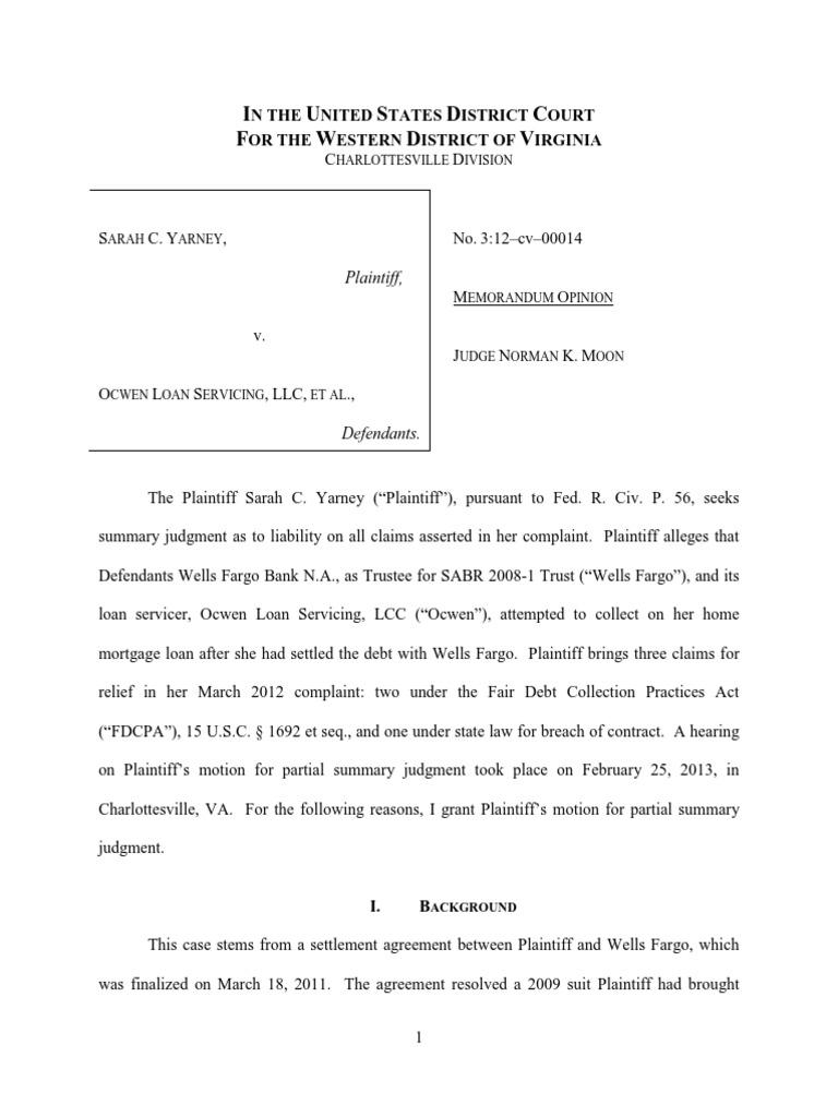 Yarney vs ocwen loan collection agency summary judgment platinumwayz