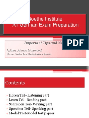 Goethe Institute German A1 Test Preparation | German