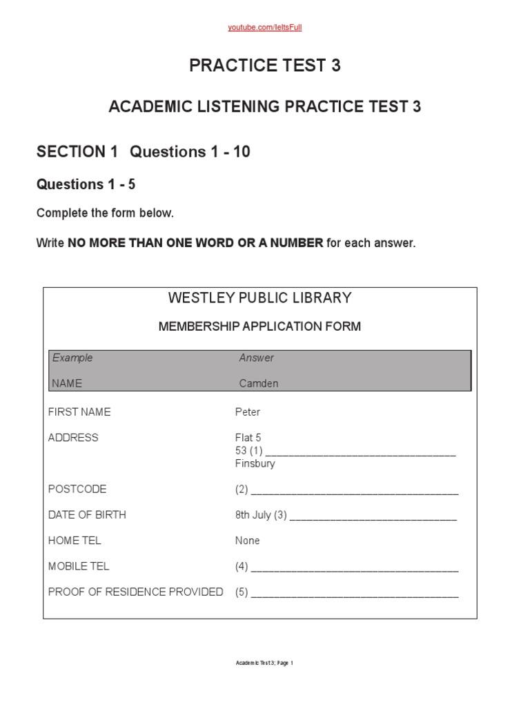 Ielts Listening Test 3 (1) | Train | Blood