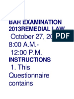 Bar Examination 2013remedial Law