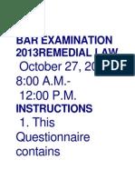 Bar Examination 2013remedial Law