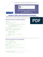 Samples of VHDL Codes Presented in the Examples