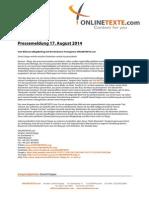 Pressemeldung 17.08.2014 Vom Bild Zum (Blog)Beitrag Mit Der Beckumer Textagentur ONLINETEXTE.com