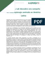 Kaspersky Lab descubre una campaña de ciberespionaje centrada en América Latina