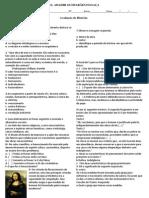 Avaliação Reforma Protestante e Renascimento 2014 2 Serie e.m.