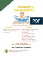 Fall Session I Swim Lessons 2014