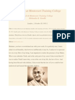 Gandhi Speaks at Montessori Training College