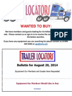 Wanted to Buy Bulletin - August 20, 2014