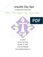 Business Plan Sample Tranquility Day Spa Plan
