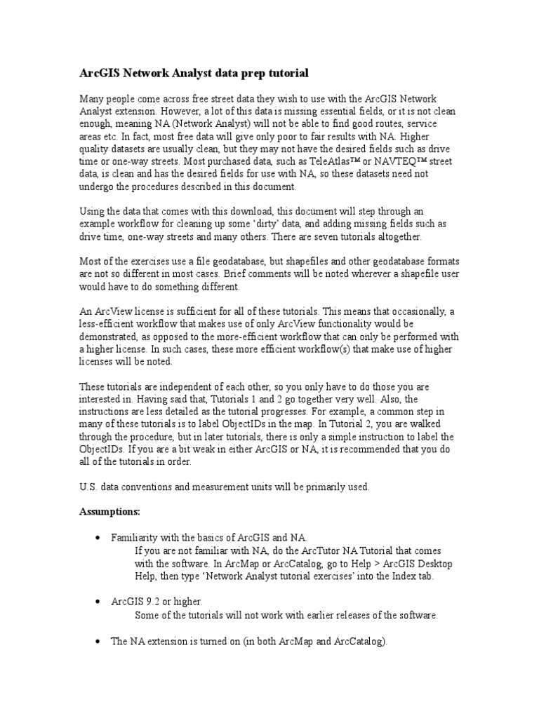 ArcGIS Network Analyst Data Prep Tutorial Arc Gis