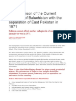 A Comparison of the Current Situation of Baluchistan With the Separation of East Pakistan in 1971
