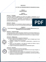 Propuesta de Reglamento de La Ley de Organizaciones de Usuarios