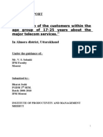 """PROJECT REPORT on """" Perception of the Customers Within The"""