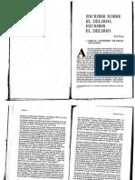 Porge, Escribir Sobre El Delirio, Escribir El Delirio