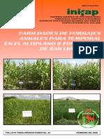 Variedades de Forrajes Anuales Para Temporal Altiplano y ZM
